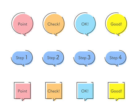 Colorful speech balloon and comment design set