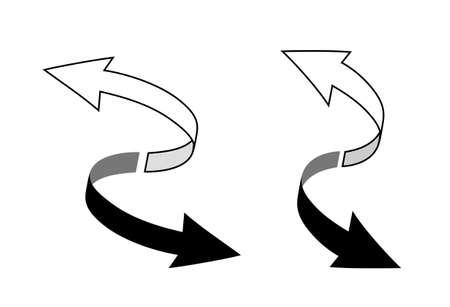 Spiral movement arrow icon set