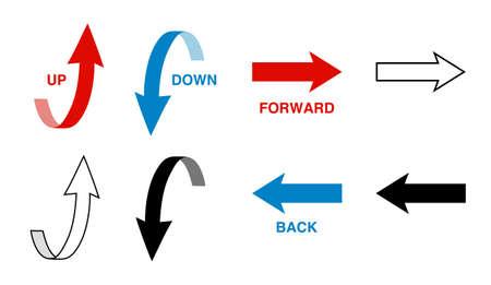 Arrow icon set (up, down, forward, back) 일러스트