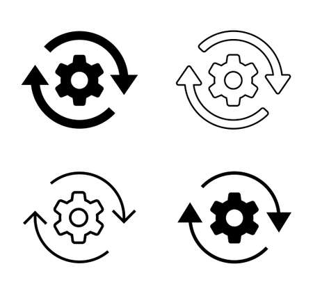 Gears and Rotating arrow vector icon Material