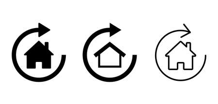 House and Rotating arrow vector icon Material