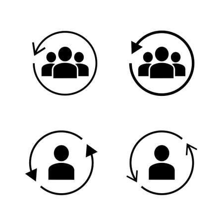 Rotating arrow and person icon set
