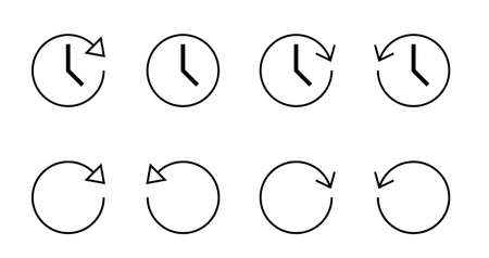 Rotating arrow and clock icon set