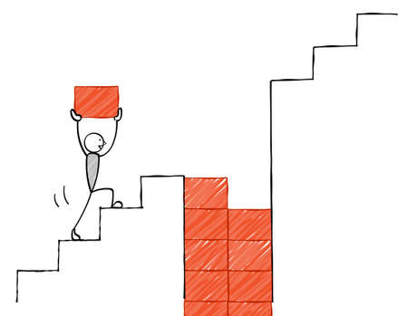 The person who fills the hole in the stairs 일러스트