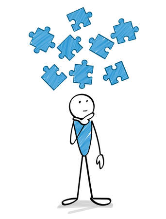 Jigsaw puzzle  and thinking person