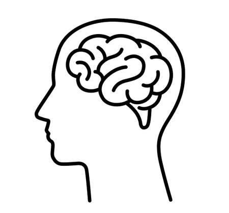 Brain and human head icon