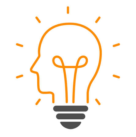 Human head and light bulb icon