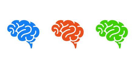 Human brain vector icon Color variation set
