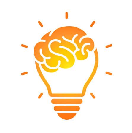 Brain icon and light bulb icon