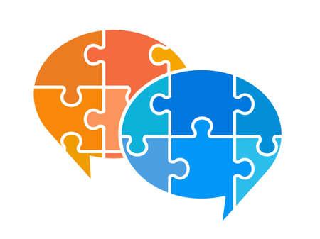 Puzzle speech balloon icon set