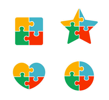Shape icon by combination of puzzle