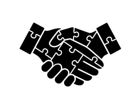 handshake of puzzle vector icon