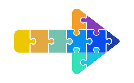 Allow icon by combination of colorful puzzle