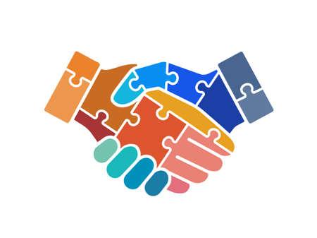 Colorful puzzle handshake vector icon