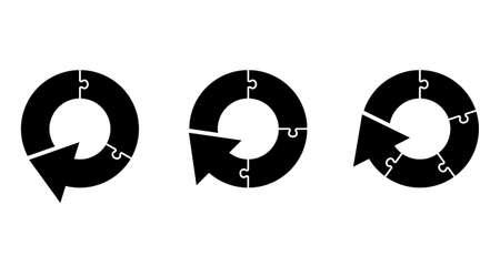 Rotating circular arrow with puzzle
