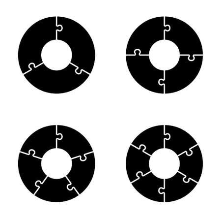 Circular chart with puzzle set 일러스트