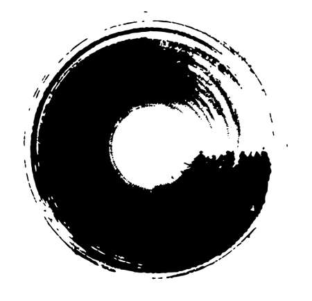 Japanese style material of  thick circle with a brush