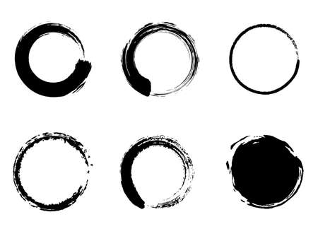 Japanese style material of circle with a brush set 일러스트