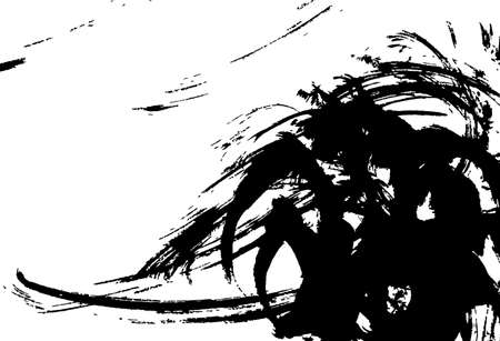 Japanese style background material with ink and brush