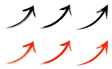 Arrow of Japanese style brush with Grange texture 일러스트
