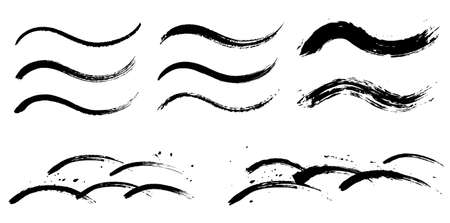 Japanese style wave pattern set with a brush