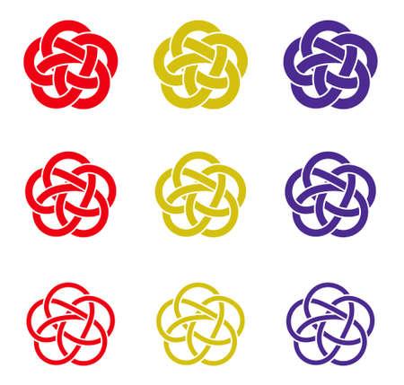 Mizuhiki decoration of plum knot set