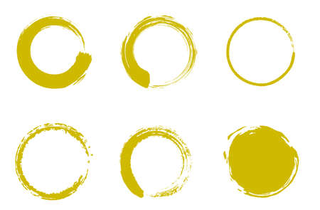 Japanese style material of gold circle with a brush