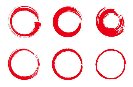 Japanese style material of red circle with a brush