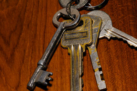 lock out: Keys on wood background