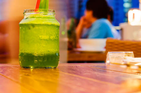 masticate: Lemongrass drink on table