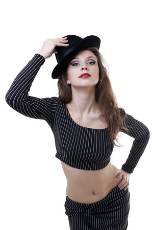 Sexy girl with a hat isolated on white photo