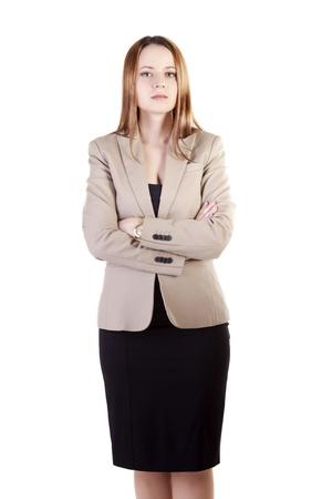 Beautiful businesswoman isolated on white background studio shot Stock Photo