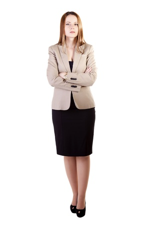 Businesswoman full body isolated on white background  studio shot