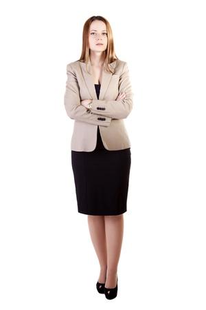 Zakenvrouw volledige lichaam geïsoleerd op een witte achtergrond studio opname Stockfoto