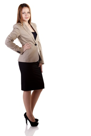 Smiling businesswoman full length isolated on white background studio shot photo