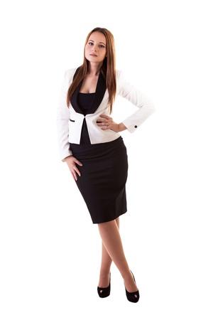 Beautiful businesswoman full body isolated on white background studio shot Stock Photo