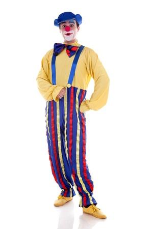 clown cirque: Le clown heureux isol� sur fond blanc Banque d'images