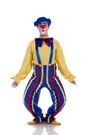 Happy clown isolated on white background