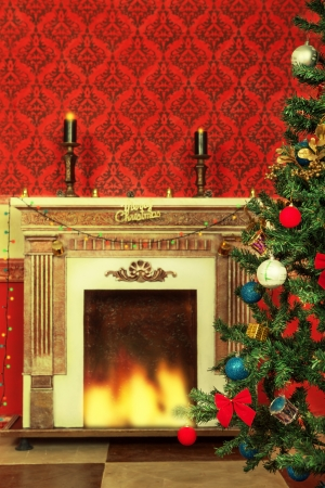 Sensasional vintage Christmas interior with a tree and a fireplace photo