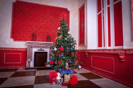 Sensasional vintage Christmas interior studio shot photo