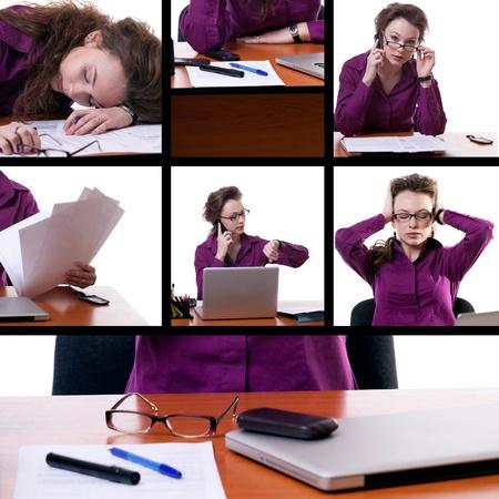Tired businesswoman collage studio shot Stock Photo