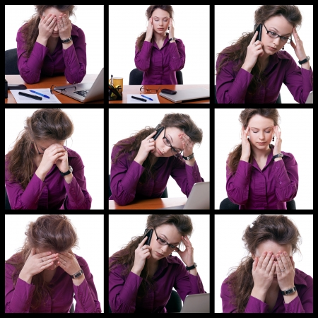 Young stressed businesswoman at desk collage studio shot over white