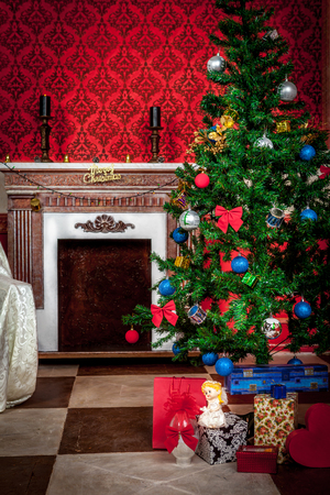 fireplace home: Christimas  interior in red vintage room studio shot