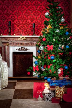 fireplace: Christimas  interior in red vintage room studio shot