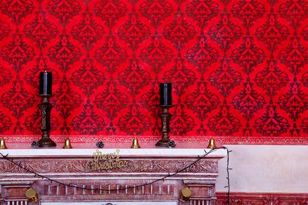Christimas  interior in red vintage room studio shot photo