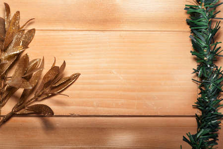 Christmas decoration on a piece of wood studio shooting Stock Photo
