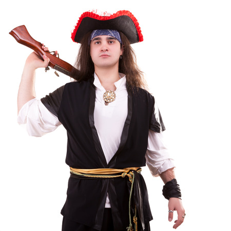 Dangerous pirate with a gun on his shoulder
