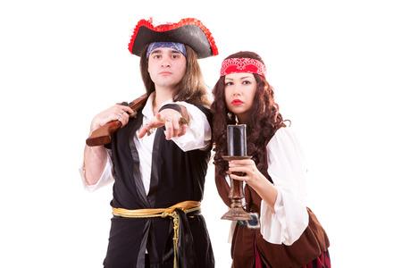 Two pirates on white background studio shooting photo