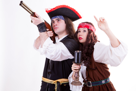 Two pirates on white background studio shooting Stock Photo