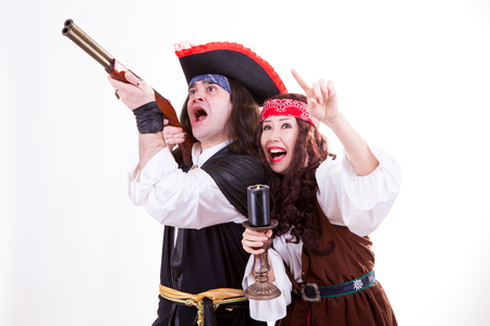 Two scared pirates on white background studioshooting photo